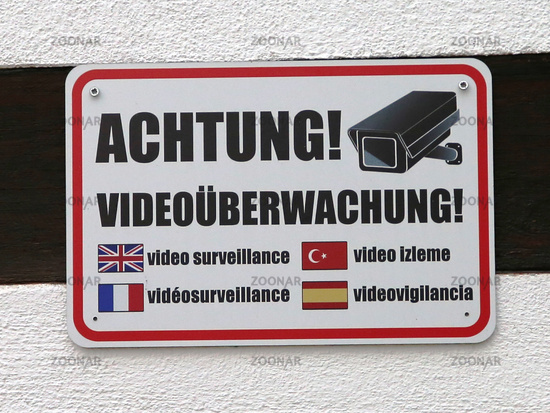 Hinweisschild Achtung! Videoüberwachung