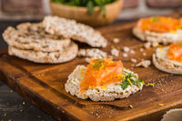 Smoked salmon on rice bread toasts