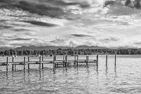 Schwarz-weiß Aufnahme des Starnberger Sees in Bayern