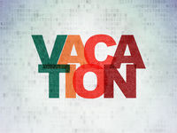 Holiday concept: Vacation on Digital Data Paper background