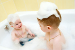 Bathing child..Small child in bath