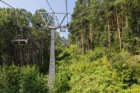 Cableway in summer in Belokurikha in the Altai Krai