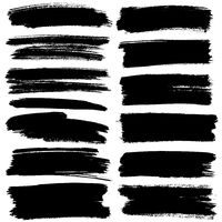 Set of black flat brush strokes