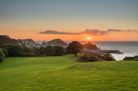 Sunset over the tourist town of Ilfracombe in Devon