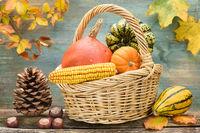 Kürbis und Herbstlaub zum Erntedank