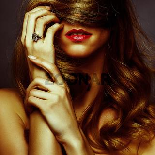 attractive blond girl romance portrait