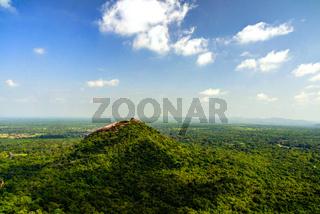 Landscape with Pidurangala mountain from the top of Sigiriya Rock, Sri Lanka