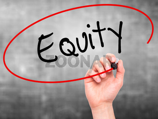 Man Hand writing Equity with black marker on visual screen