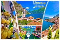Limone sul Garda collage postcard with label