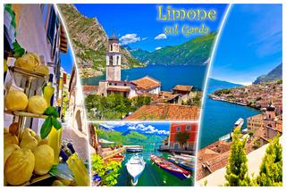 Limone sul Garda collage postcard with label