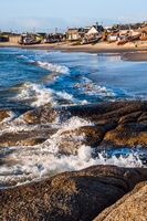 Punta del Diablo Beach, popular tourist site and Fisherman's place in the Uruguay Coast