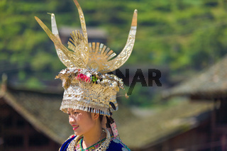 Miao Woman Traditional Horn Headdress Garb Village