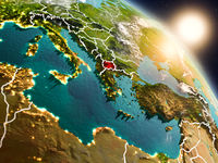 Macedonia from space during sunrise