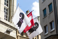 Swiss and Basel Canton Flags