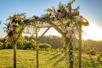 Jewish traditions wedding ceremony. Wedding canopy chuppah or huppah with golden light