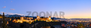 Alhambra fortress night view