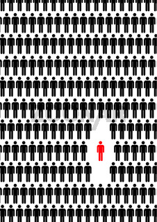 Man in crowd, concept illustration