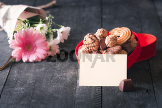 Box of sweets and message card