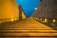 Modern architecture steps in Valletta,Malta at sunset
