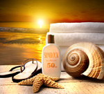 Beach accessories with a golden sunset