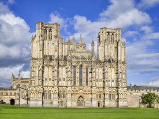 West Front of Wells Cathedral and Cathedral Green