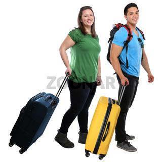 Junge Leute Menschen ziehen Koffer Reise reisen verreisen Urlaub jung lachen Freisteller