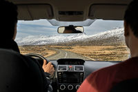 Driving on county roadway in Iceland