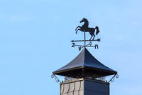 Horse on weather vane stands on chimney cap
