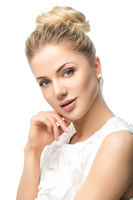 beautiful blond girl isolated on white
