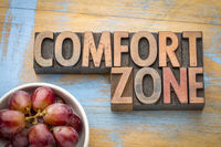 comfort zone word abstract in wood type