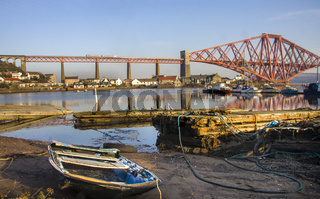 The Forth Rail Bridge seen from North Queensferry Fife harbour