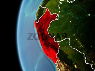 Peru from space in evening