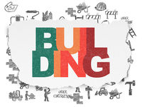 Construction concept: Building on Torn Paper background