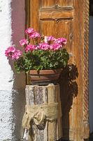 Blumenschmuck vor der Haustüre