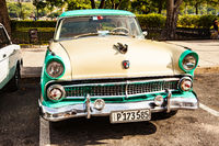Havana, Cuba, December 12, 2016: Colorful vintage classic car parked in Old Havana