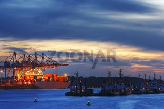 Containerschiff am Burchardkai im Hamburger Hafen, Deutschland, Container Ship at Burchardkai in Hamburg Harbour, Germany