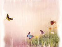 Butterflies on a field painting