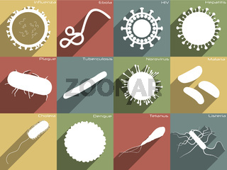 Icon set of different diseases