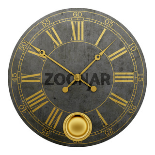 vintage round wall clock isolated on white background
