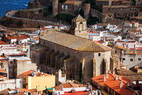 Parish Church of Saint Vincent (Sant Vicenc) in Tossa de Mar town on Costa Brava in Catalonia