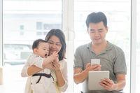 Family scanning QR code