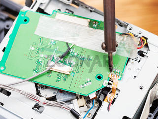 repairing of circuit board with soldering-iron