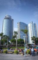 riverside promenade park and skyscrapers in downtown xiamen city china