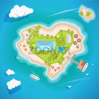 Heart island top aerial view - travel tourism vector illustration