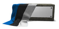 steinsockel mit leerem schild und fahne von estland - 3d rendering