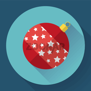 Red christmas ball decoration icon.