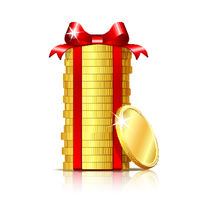 Stack of coins with red ribbon and gift bow.