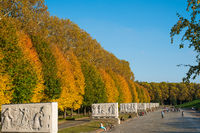 People at the Soviet War Memorial and military cemetery during autumn in Berlin