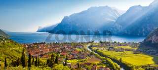 Town of Torbole and Lago di Garda sunset view