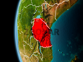 Tanzania from space in evening